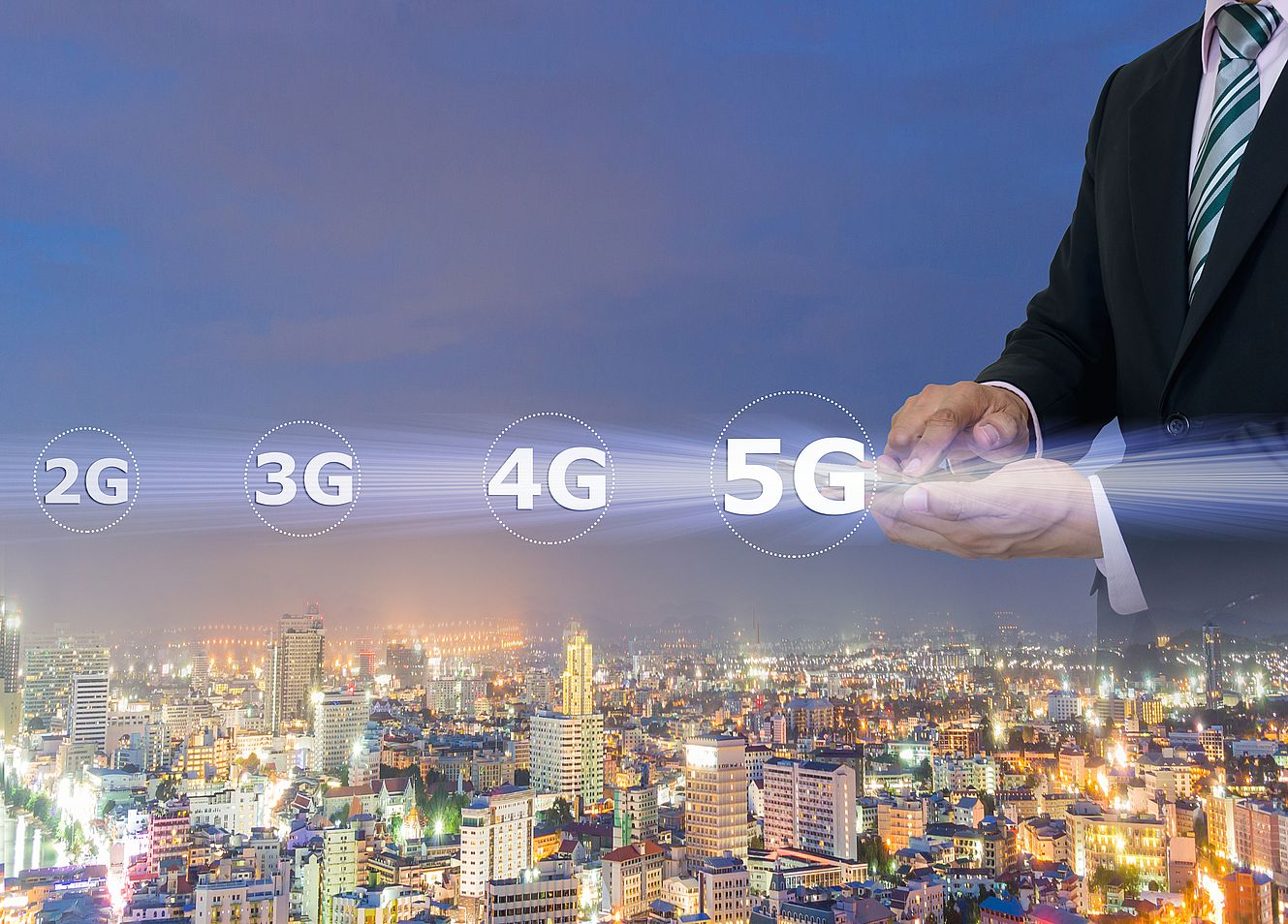 Businessmen hold a smartphone with digital pattern to view social data 5G networking concept.